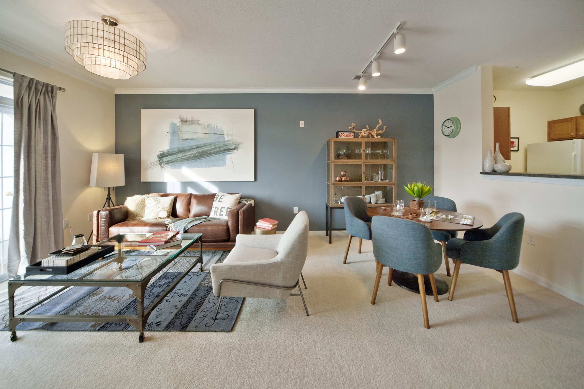 Interior living space featuring dining area and sofa seating area including luxury decor.
