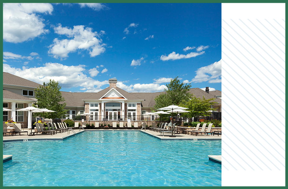 split image with photo of pool area and clubhouse at The Mews at Princeton Junction apartments and white rectangle overlaid with light blue diagonal lines on right