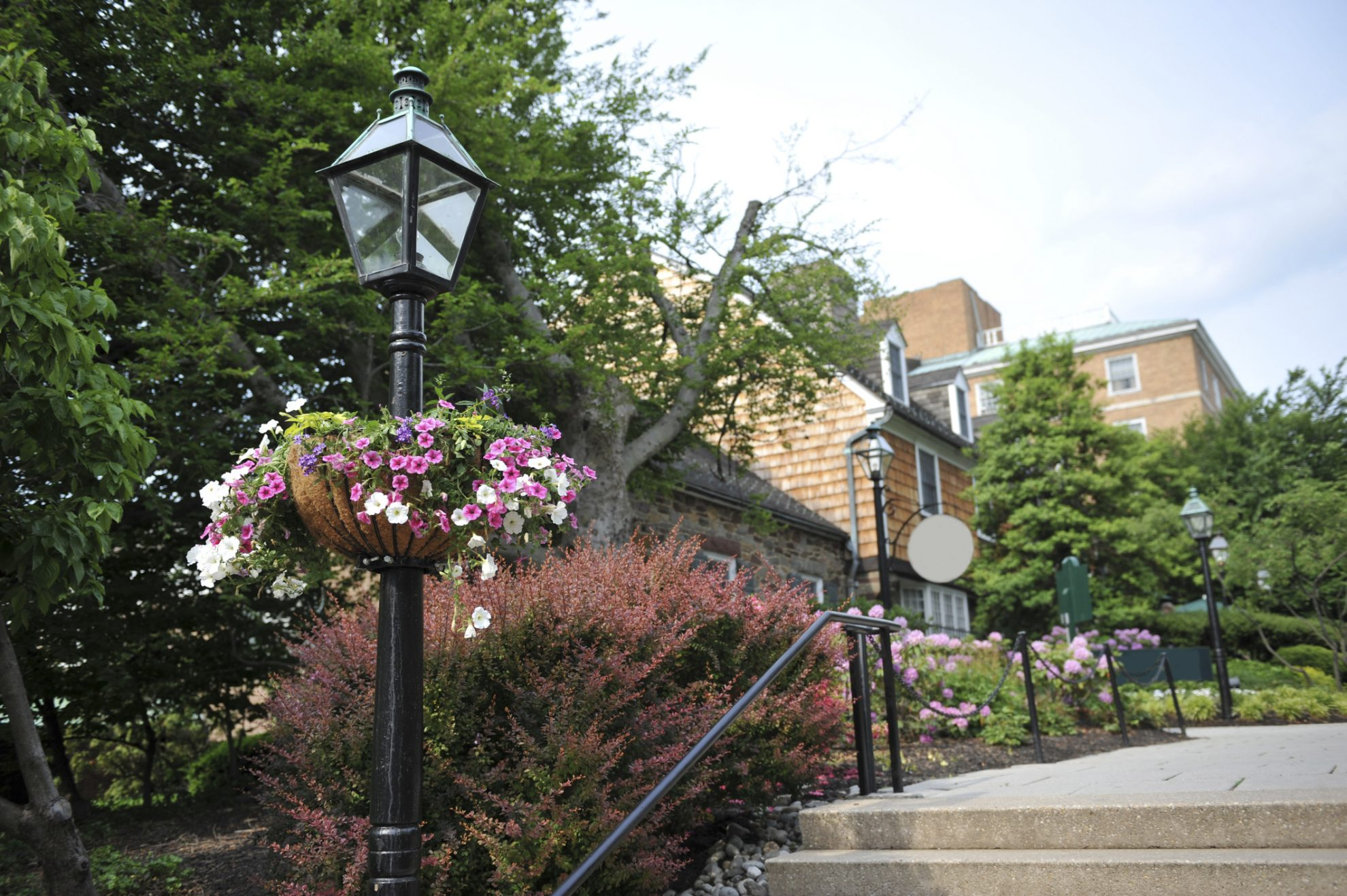 Street lamp and hanging flowers in Princeton, New Jersey