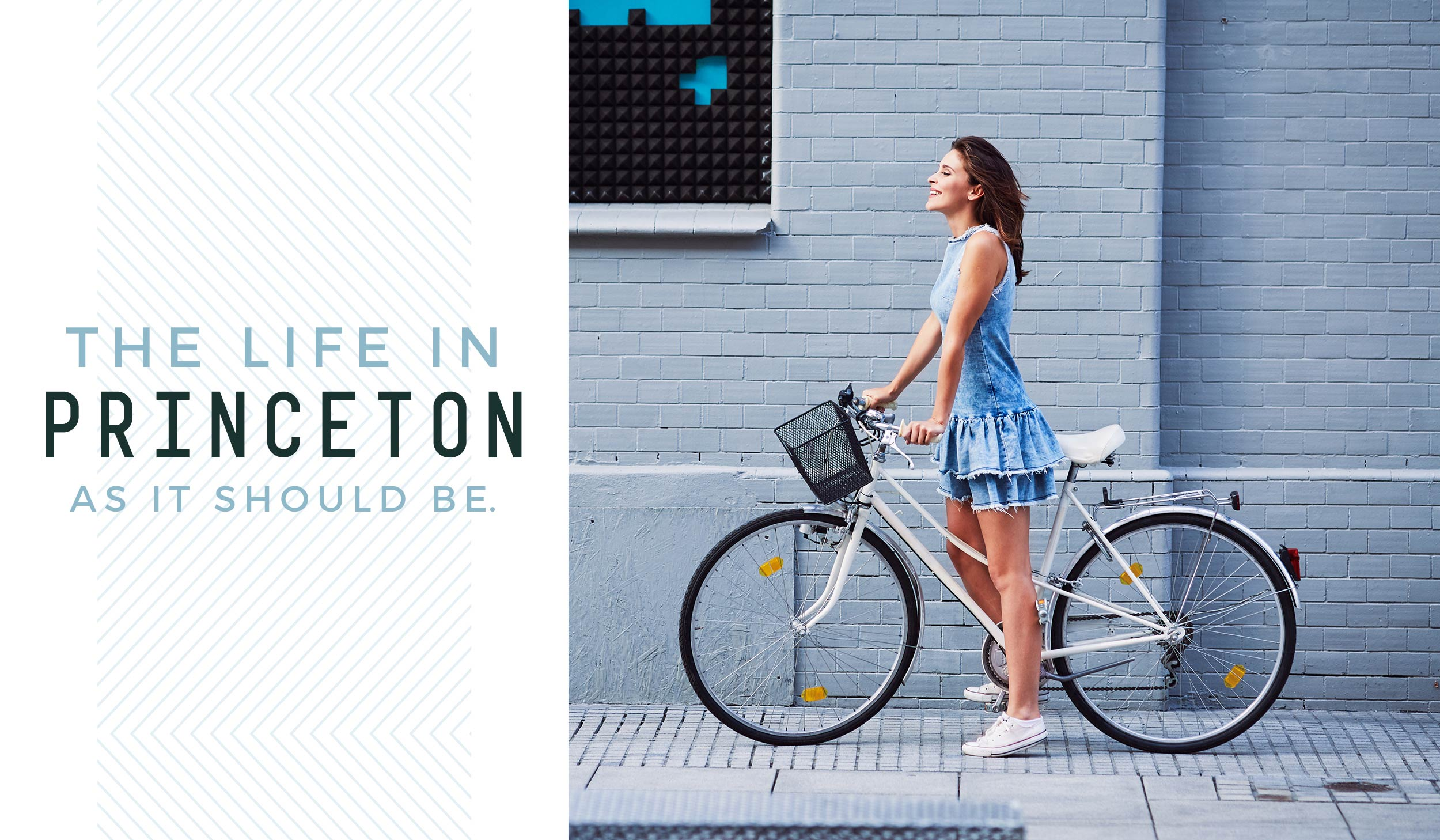 A woman riding a bike with text THE LIFE IN PRINCETON AS IT SHOULD BE.